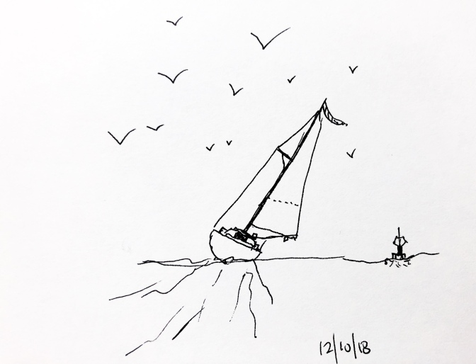 2 drawings – Sailing, and Eagle in pen
